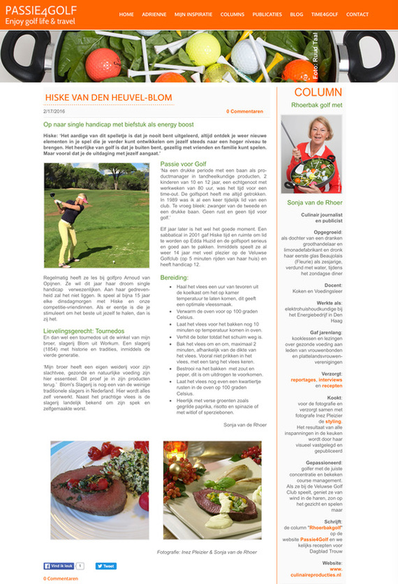 Culinaire Producties - Sonja van de Rhoer - Blog - Column Passie4Golf